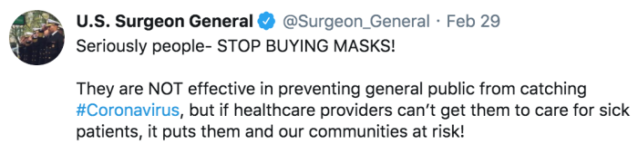 US Surgeon General says that wearing face masks could increase the risk of contracting Coronavirus